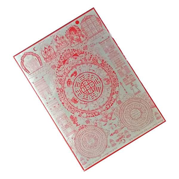 文殊菩薩 文殊九宮八卦背面附膠鏡面反射金屬貼牌