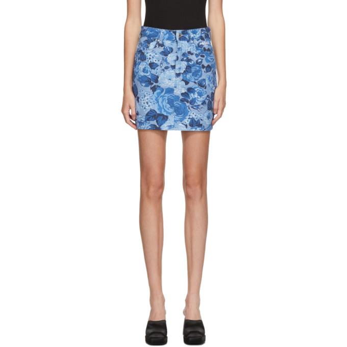MSGM 蓝色 Floral 牛仔短裙