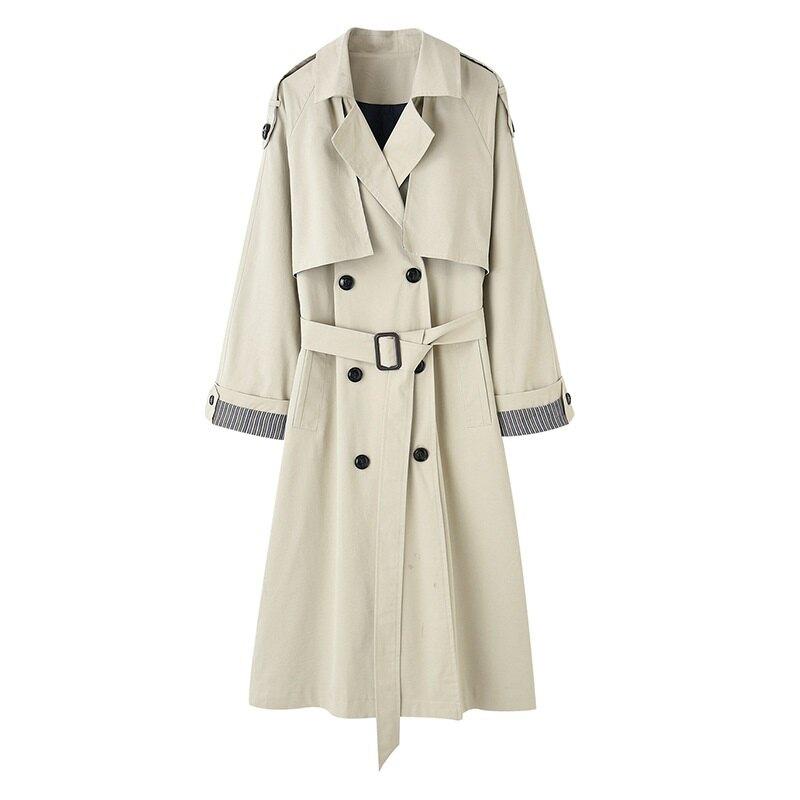 風衣外套長版大衣-薄款經典修身雙排扣女外套2色73yr20【獨家進口】【米蘭精品】