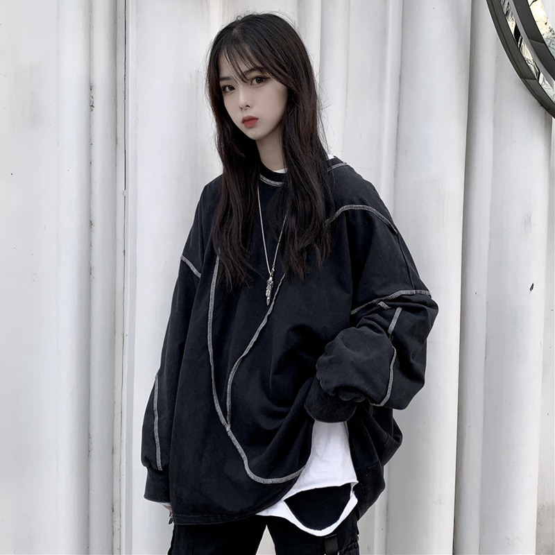 大學T 簡約百搭遮肉寬鬆個性設計 情侶款慵懶風套頭T恤上衣外套