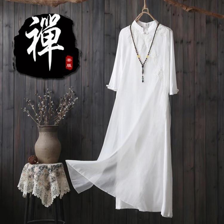 夯貨折扣!茶服女禪意文藝棉麻洋裝春夏款白色復古改良旗袍中版風刺繡長裙