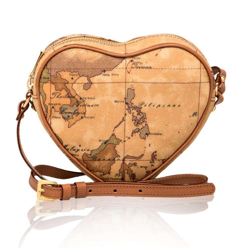 【Alviero Martini 義大利地圖包】拉鍊愛心斜側背包(小)-地圖黃