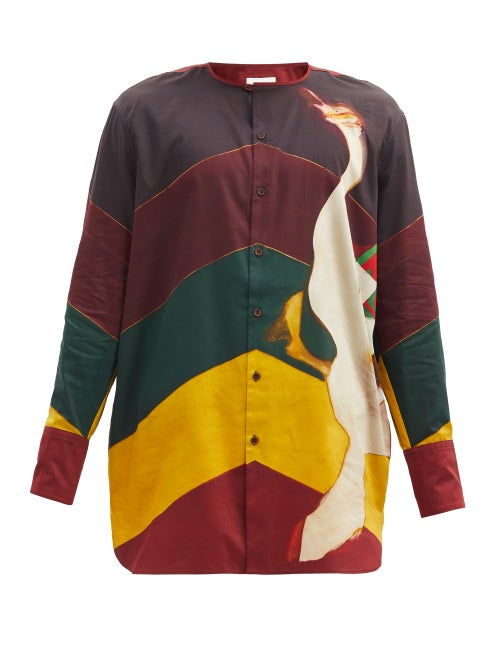 Wales Bonner - Frank Swan And Stripe-print Cotton Shirt - Mens - Multi