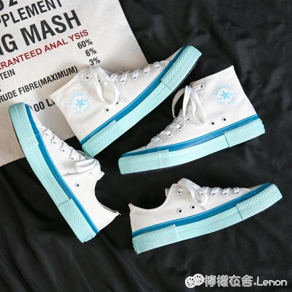 帆布鞋 小白鞋夏季年新款秋季高筒帆布鞋女ulzzang韓版百搭學生板鞋