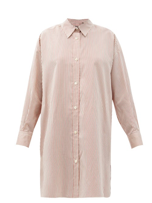 Isabel Marant - Macali Striped Side-slit Silk Shirt - Womens - Red White