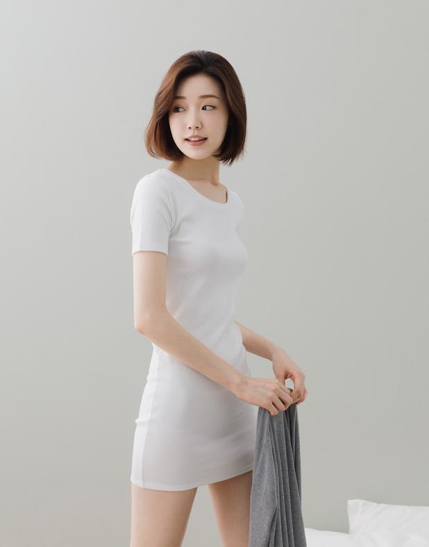 Genquo+圓領羅紋洋裝-女