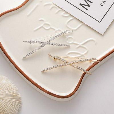 {朵朵韓飾} B5019 韓國直送(正韓)-氣質優雅水鑽交叉髮夾(二色)