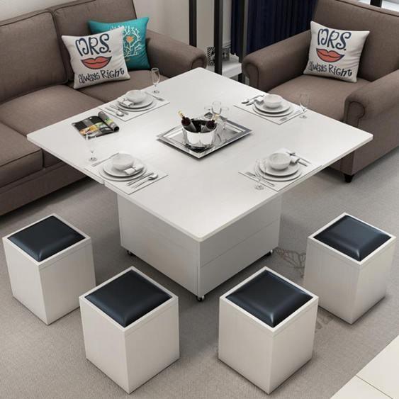 多功能茶几 小戶型折疊升降茶幾餐桌兩用多功能變儲物簡約創意圓角茶幾帶凳子