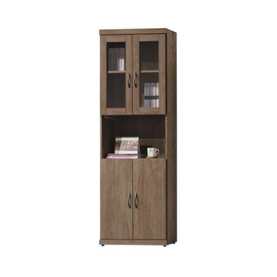 柏蒂家居-米契2尺四門中開放書櫃/置物櫃-60x32x180cm