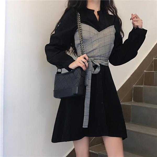 洋裝秋裝新款輕熟風設計感小眾假兩件收腰顯瘦氣質長袖洋裝女裝【快速出貨】