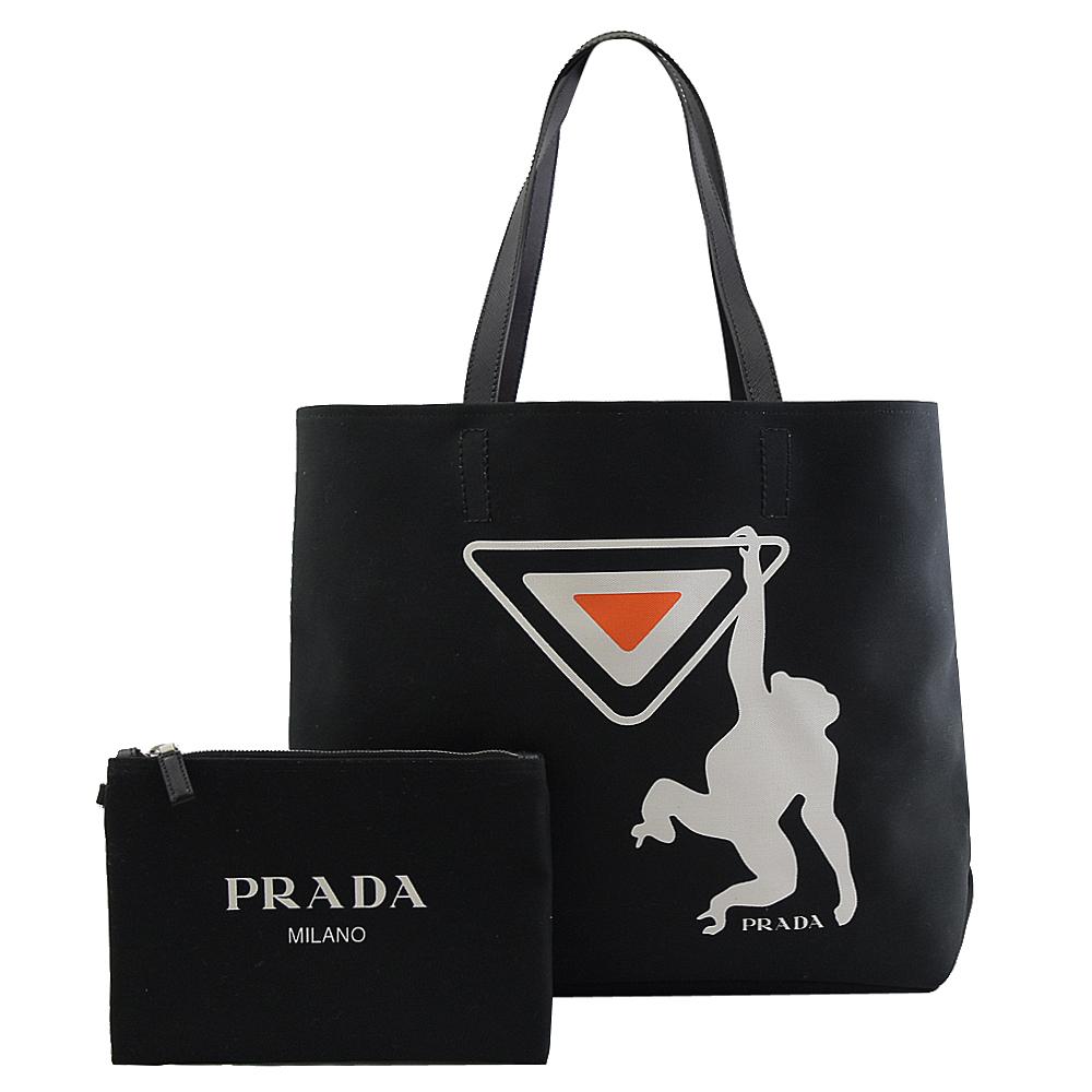 PRADA 專櫃商品 2VG043 三角LOGO猩猩印花肩背托特包.黑