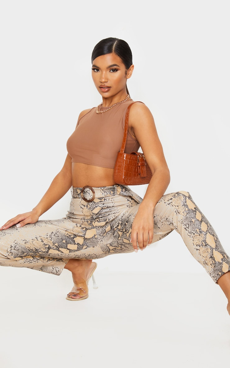 Stone Snake Faux Leather Belted Pants