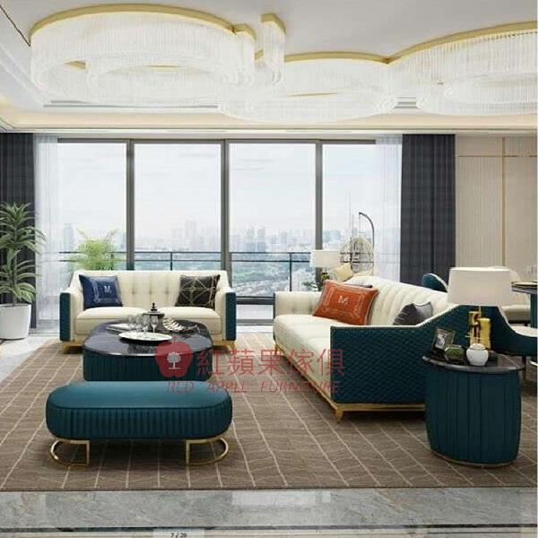 [紅蘋果傢俱] 輕奢風W-QQ-215沙發 皮沙發 皮藝 仿皮沙發 不鏽鋼材質 簡約 沙發 客廳 單人 雙人 三人