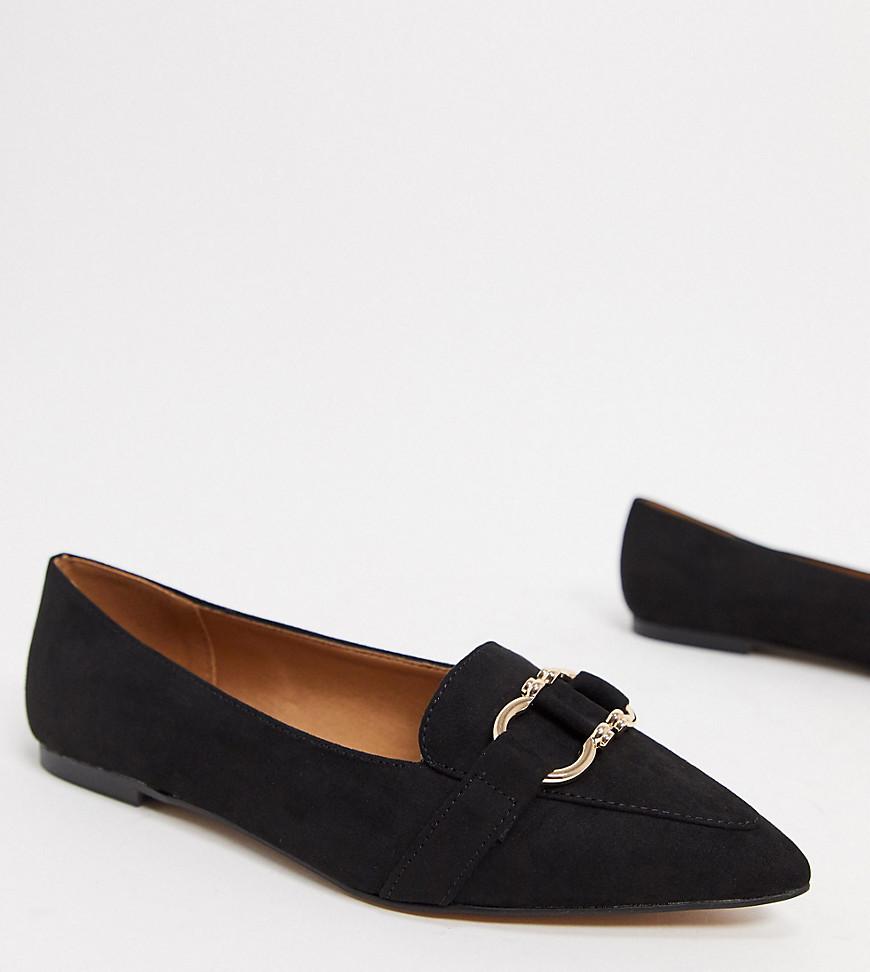 ASOS DESIGN Wide Fit Legit loafer ballet flats in black