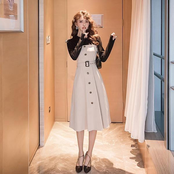 第二件4折 韓系單排釦黑白拼接袖長版配腰帶長袖洋裝