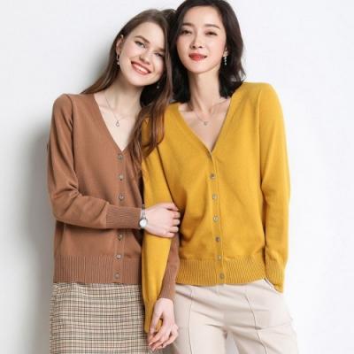 La BellezaV領素色包心紗薄針織琥珀鈕釦開釦外套
