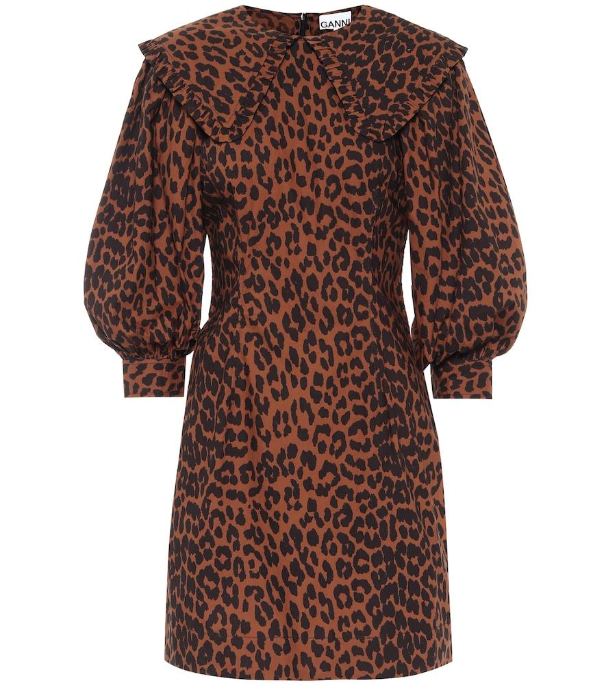 Leopard-print cotton minidress