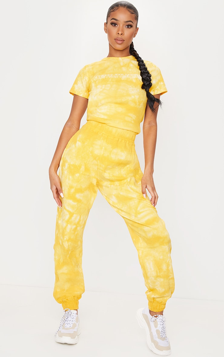 PRETTYLITTLETHING Yellow Tie Dye Thick Rib Jumpsuit
