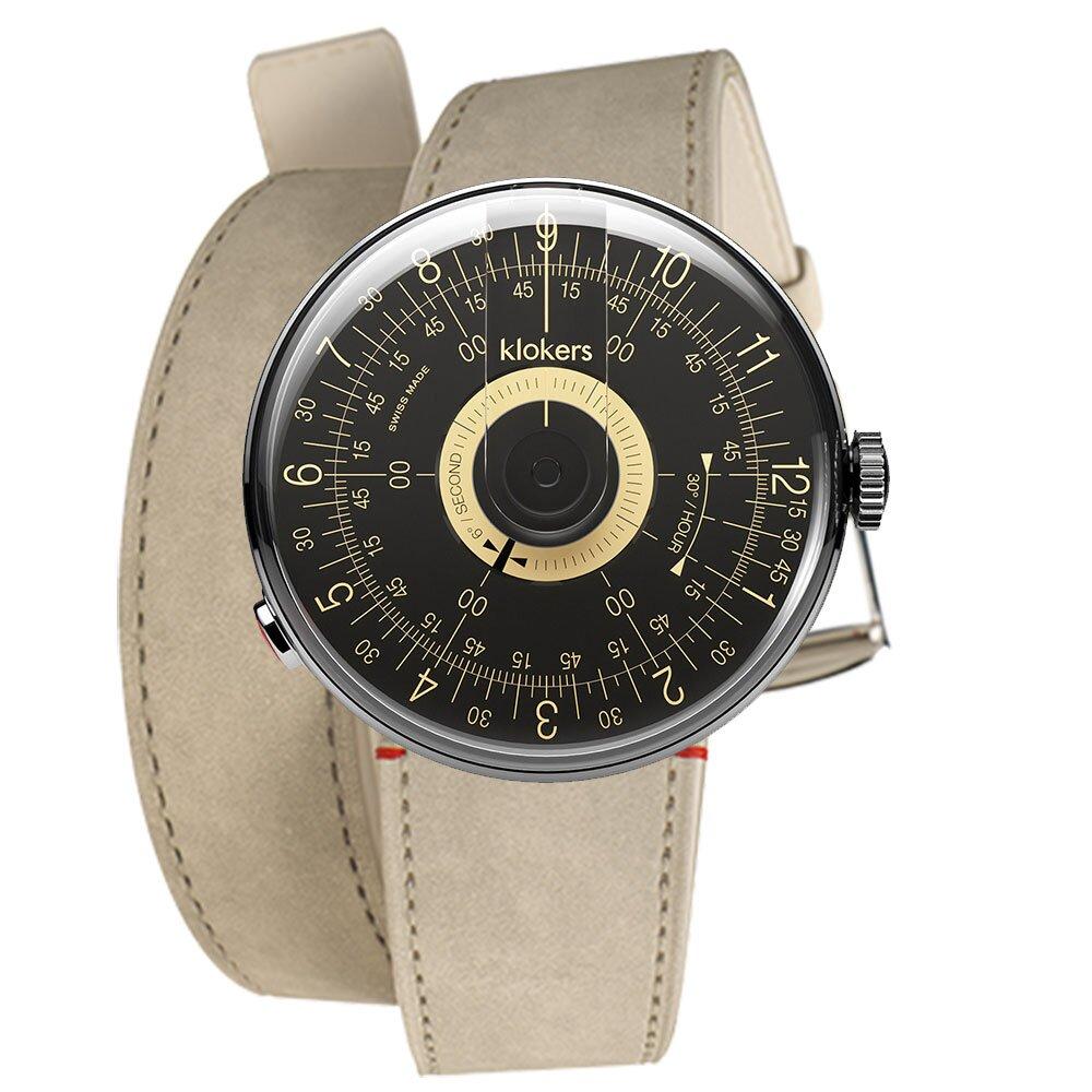 klokers【庫克錶】KLOK-08-D3 黑軸 + 雙圈皮革錶帶 | 錶徑39mm