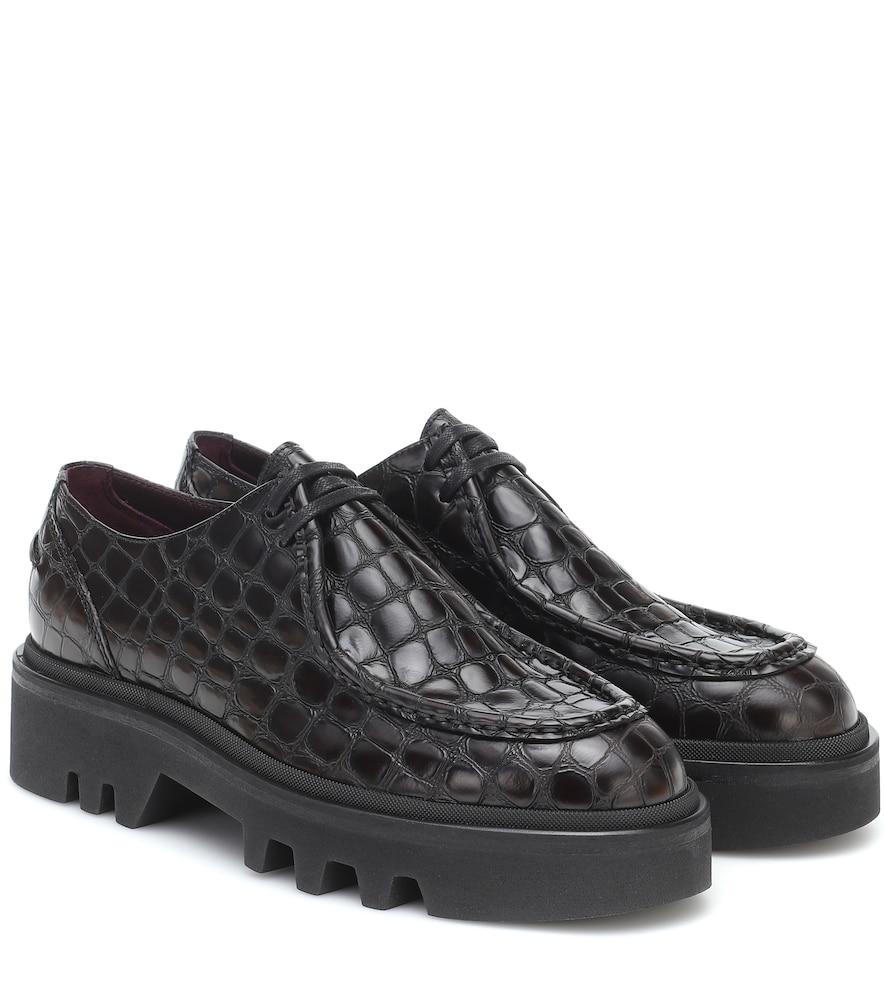 Croc-effect leather Derby shoes