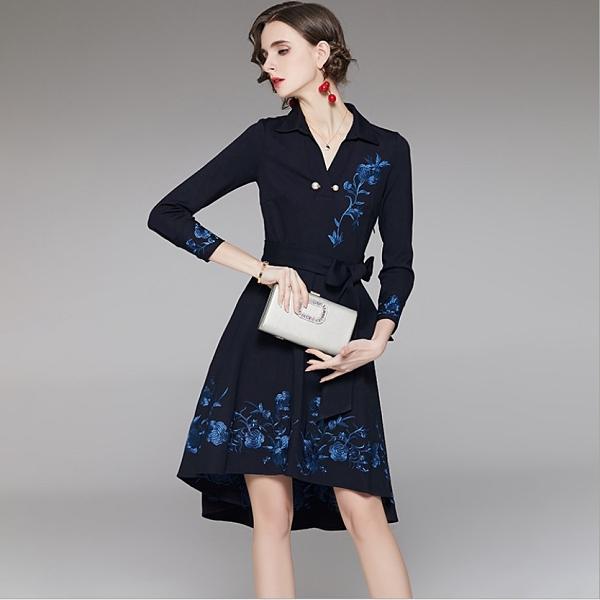(現貨+預購 RN-girls)-精品氣質加大刺繡魚尾裙長袖洋裝小禮服