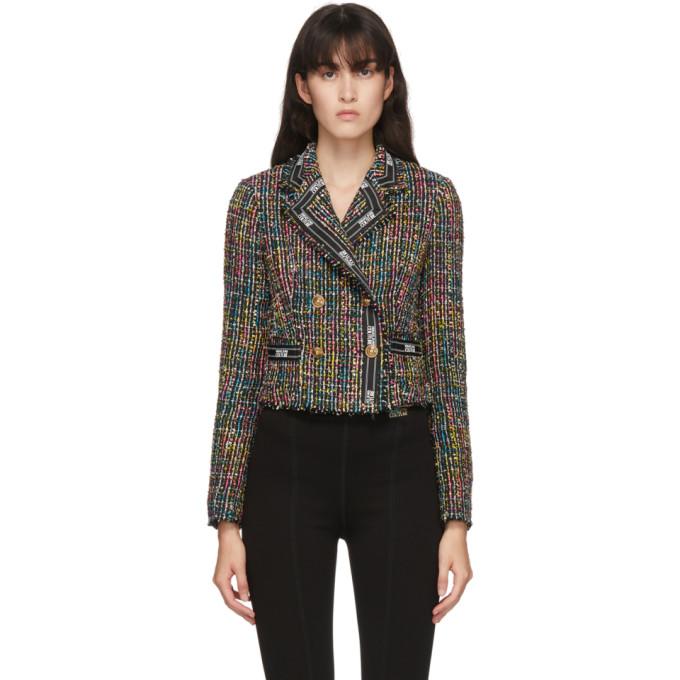 Versace Jeans Couture 黑色短款粗花呢夹克
