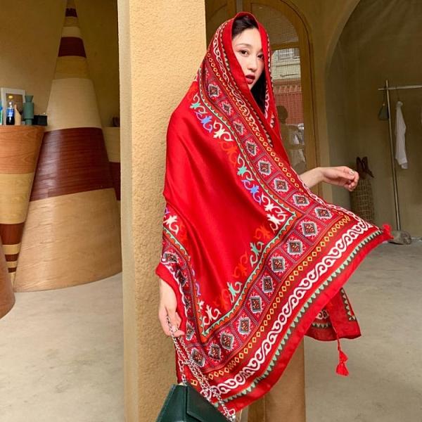 民族風披肩圍巾兩用海邊防曬沙灘絲巾紅色超大紗巾女沙漠旅游拍照