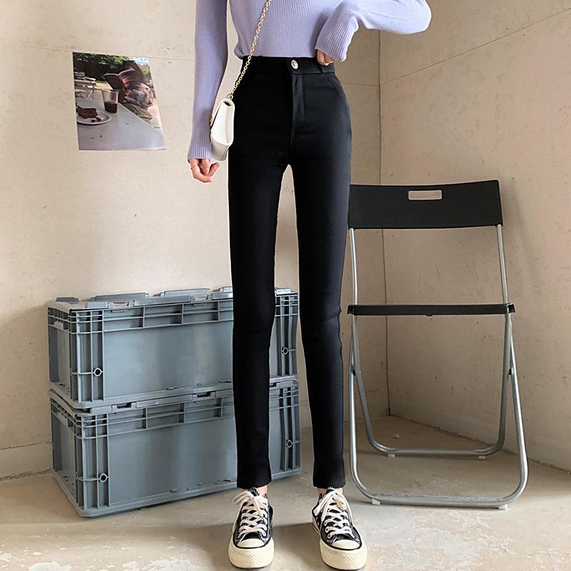 【免運】黑色緊身顯瘦彈力褲女 內搭長褲 高腰顯瘦靴褲 窄管褲 窄褲