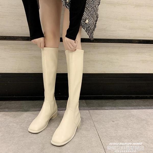 長靴 長筒靴女秋冬方頭馬丁靴英倫風長靴不過膝騎士靴子顯瘦高筒靴 萊俐亞 交換禮物