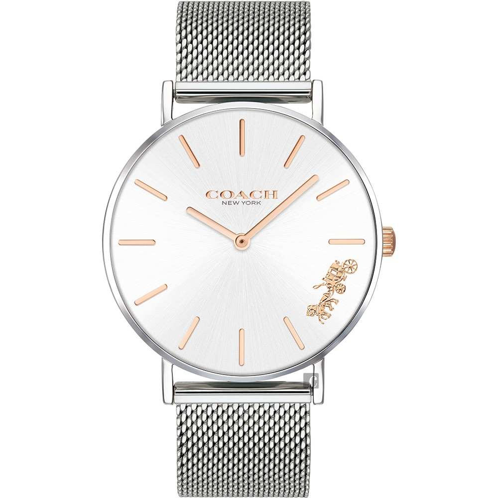 Coach Delancey 紐約馬車石英米蘭帶手錶-銀/36mm CO14503124