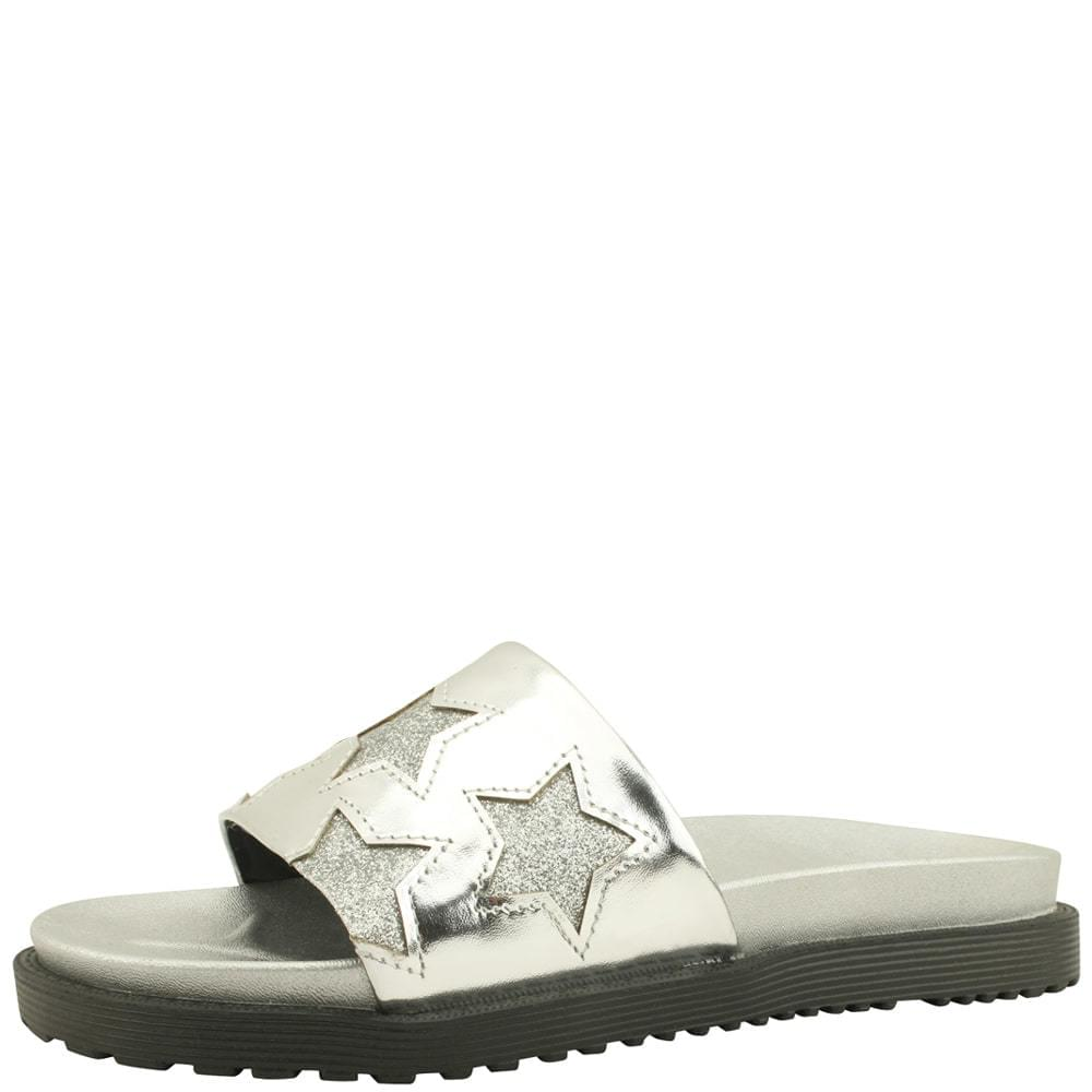 韓國空運 - Glitter Pearl Casual Flat Slippers Silver 涼鞋