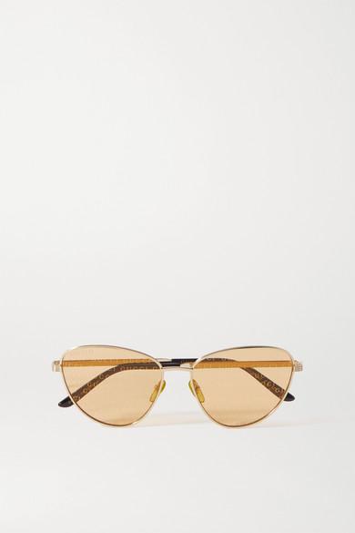 Gucci - 金色金属板材猫眼太阳镜 - one size