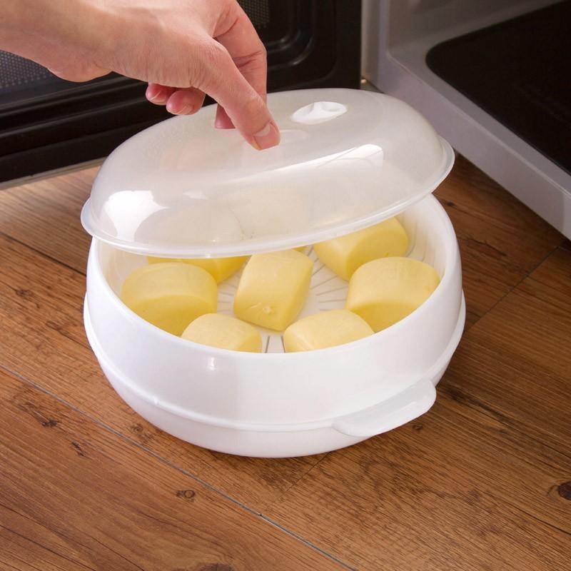 居家家微波爐用蒸鍋廚房用品微波工具圓形蒸屜饅頭包子器皿蒸籠 -