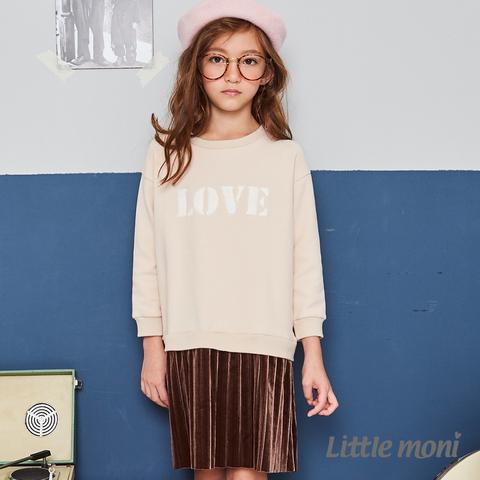 Little moni 刷毛假兩件百褶刺繡洋裝(卡其)