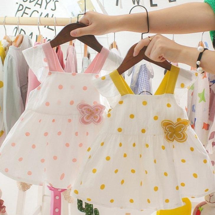 嬰幼兒圓點可愛大蝴蝶結洋裝 短袖洋裝 女童洋裝 寶寶洋裝 連身裙 連衣裙 小童洋裝【蘋果小舖】(RE)2004 A6