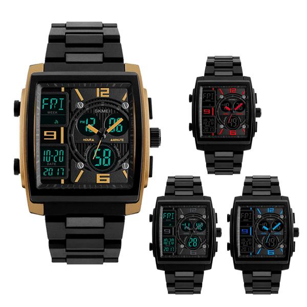 SKMEI 時刻美 1274 時尚方形雙顯示多功能運動電子錶