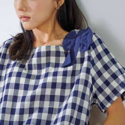 KT 蝴蝶結肩色織繭型上衣- 藍色