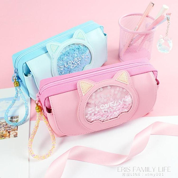 韓版網紅筆袋女簡約小學生可愛高顏值少女心文具盒女帆布創意多功能筆盒 艾瑞斯