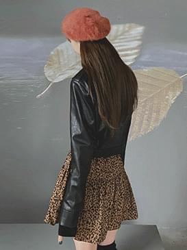 韓國空運 - 翻領短版皮革外套 夾克外套