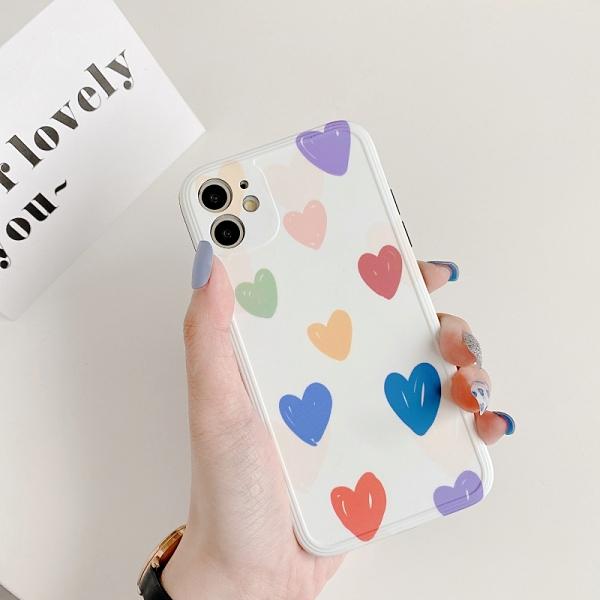 iPhone11ProMax 蘋果手機殼 可掛繩 彩色愛心 矽膠軟殼 iX/i8/i7/SE