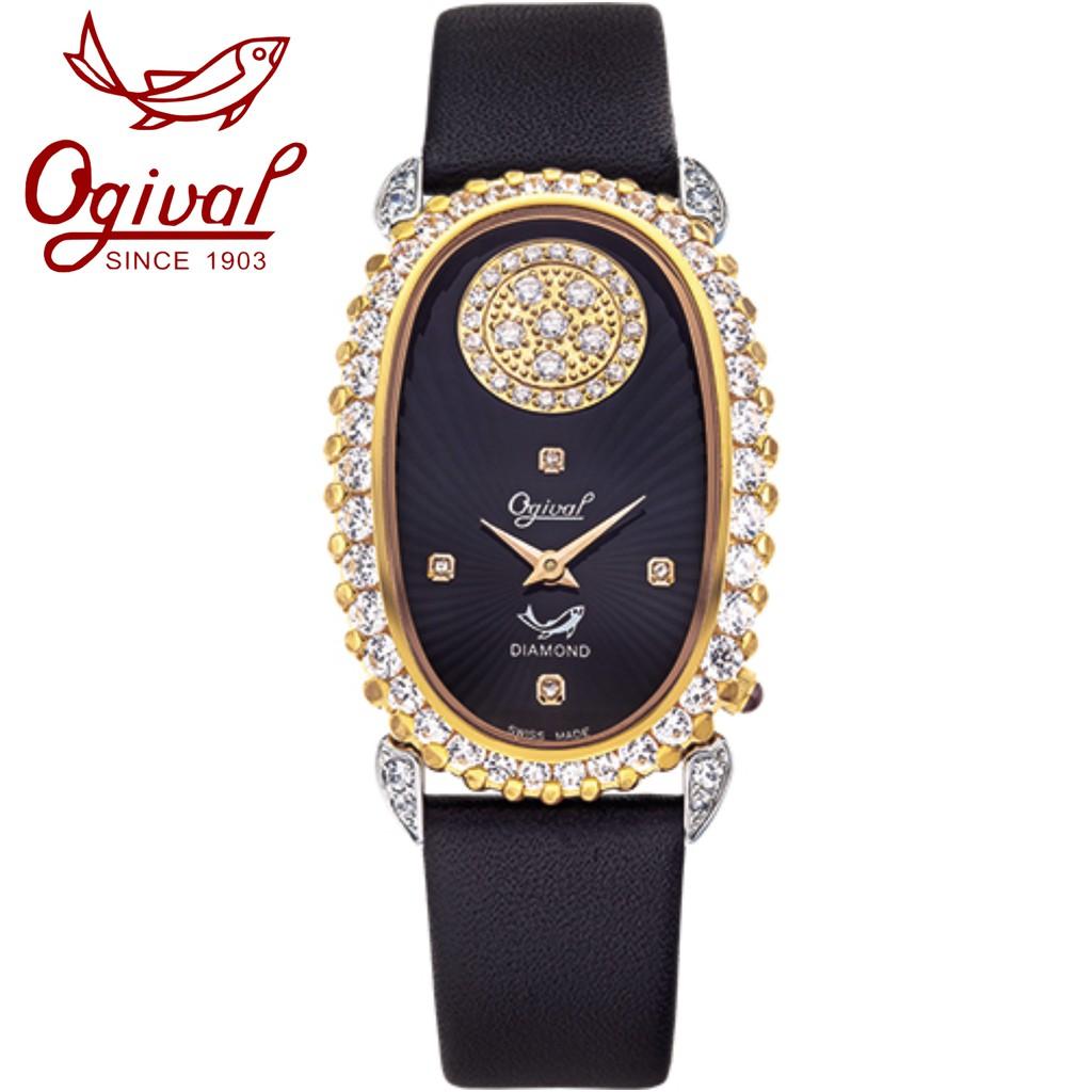 Ogival 瑞士愛其華 舞動真鑽淑女腕錶-雙色 380-34DLSR 黑面黑帶/28x44mm
