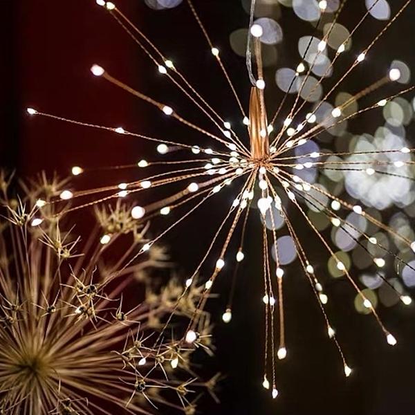 [拉拉百貨]LED太陽能煙花燈 200燈 防水燈串 吊燈裝飾 戶外露營防水燈串 聖誕燈 造型燈飾