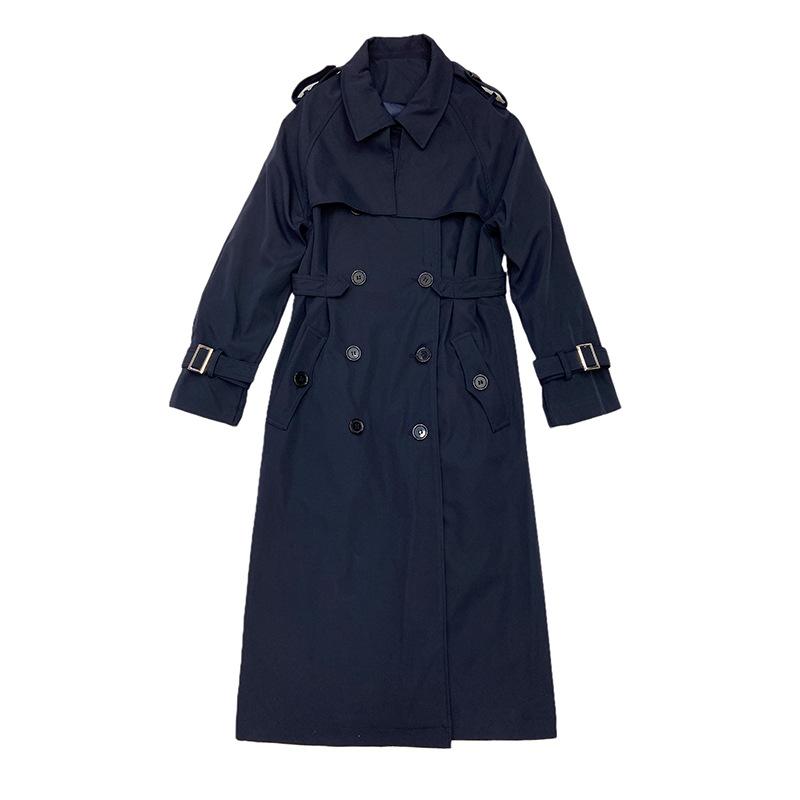 風衣外套長版大衣-腰帶收腰雙排扣百搭女外套73yx4【獨家進口】【米蘭精品】