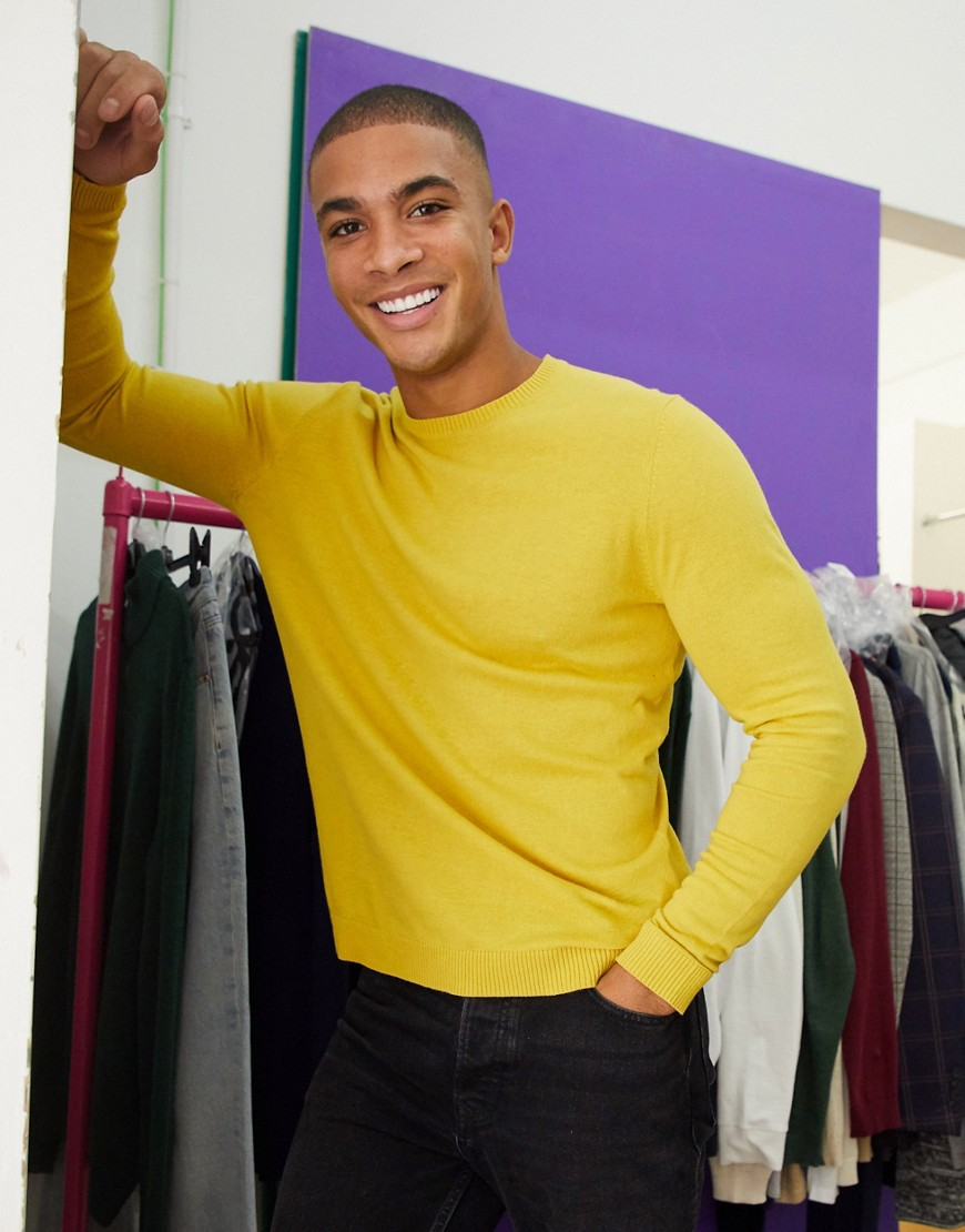 ASOS DESIGN cotton jumper in mustard-Yellow