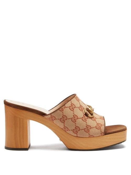 Gucci - Houdan Gg-monogram Horsebit Mules - Womens - Beige Multi