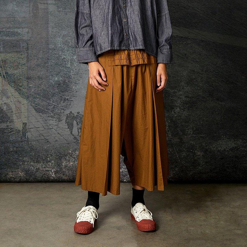 RE_港灣氣息鬆緊飾片打褶傘襬低檔褲