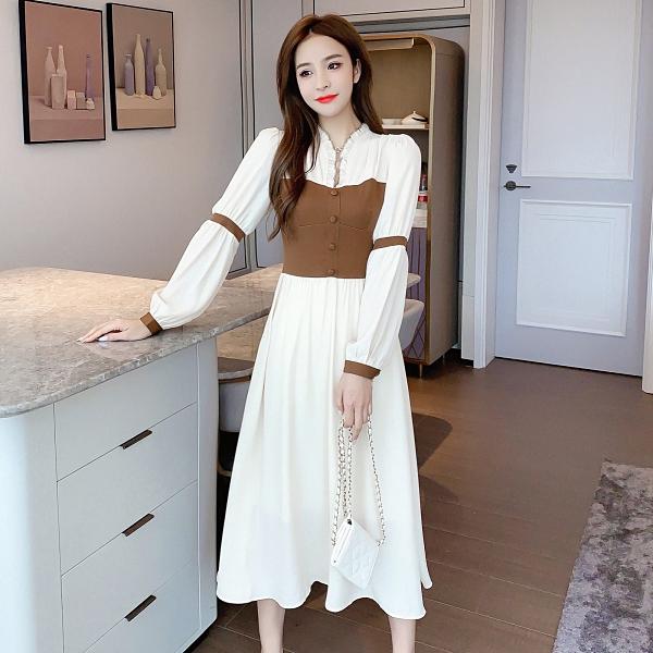 第二件4折 韓國風收腰顯瘦復古氣質燈籠袖長袖洋裝