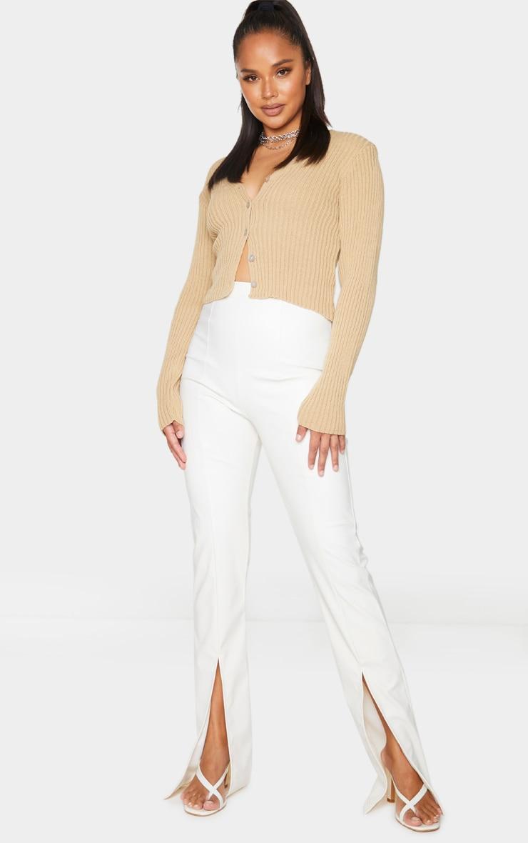 Cream Faux Leather Seam Detail Split Hem Pants