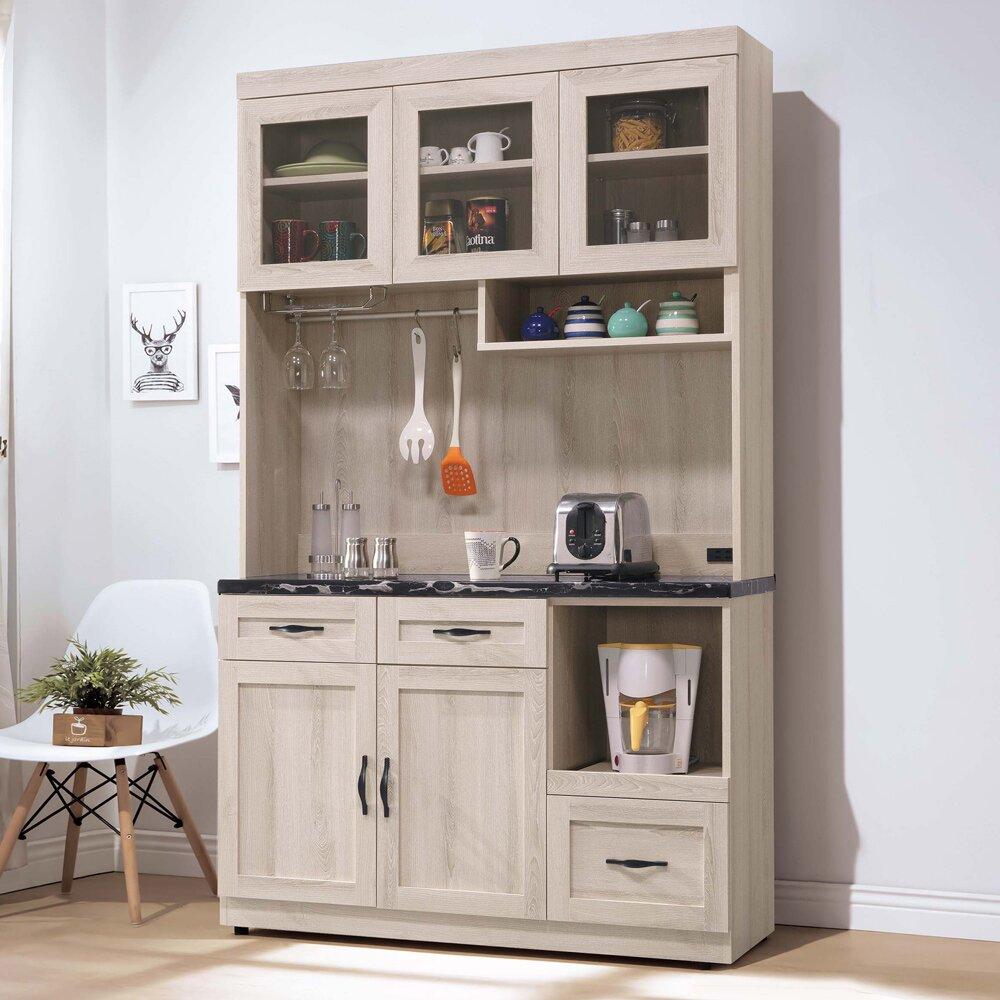 Boden-曼蒂4尺黑色石面多功能收納高餐櫃/碗盤置物櫃/電器櫃(上座+下座)