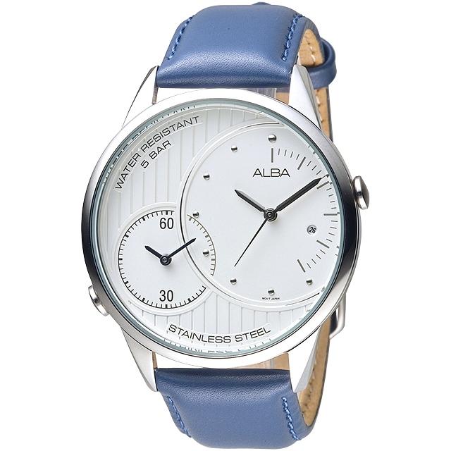 ALBA雅柏手錶 完美時刻兩地時間皮帶男錶/AZ9011X1(保固二年)